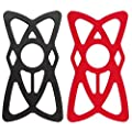 Nalakuvara 4 Pack Silicone Security Bands For Cell Phone Mount Universal Mountain Road Handlebar Cradle Holder Tether Bicycle Phones Holder Support Only 4pcs Bands 2 Black 2 Red
