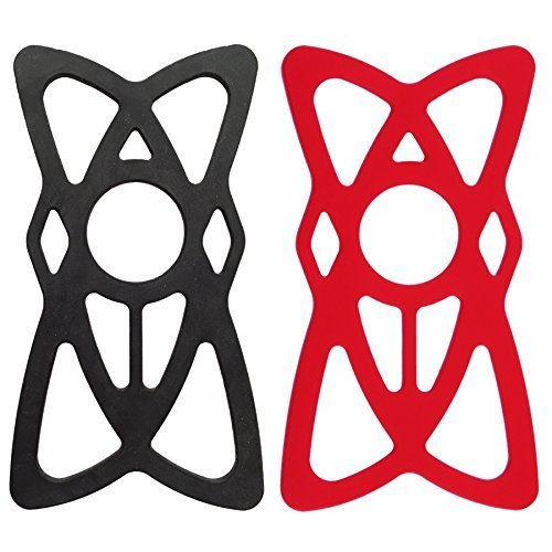 Silicone Security Bands for Cell Phone Mount, NALAKUVARA Universal Mountain & Road Handlebar Cradle Holder Tether, Bicycle Phones Holder Support, Only 4 PCS Band (2 Black & 2 Red) (Evo Htc G4 Case)