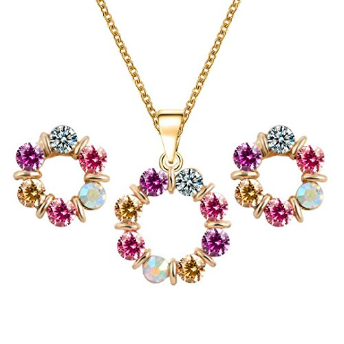 YIN E FANG Donut Austrian Crystal Necklace Earrings Fashion Jewelery Set -