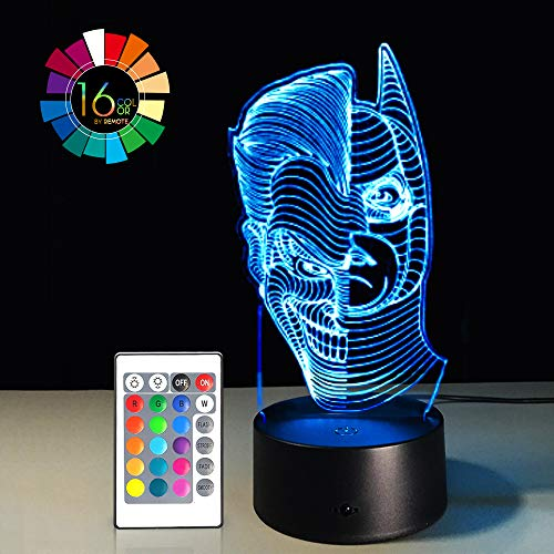 3D LED Night Light Lamps Illusion 3D Optical 7 Colors Touch Visual Lamp for Table Desk Home Decoration with Remote Controller (Batman & Joker Half -