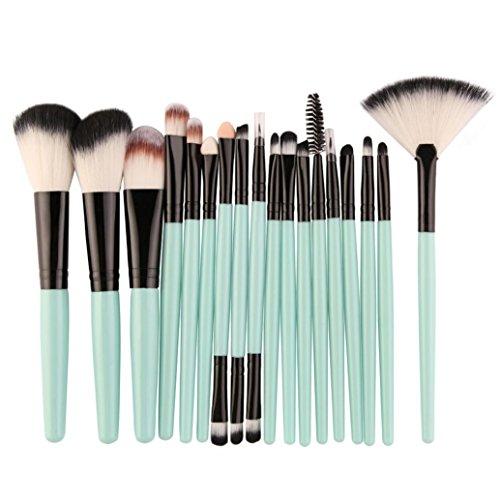 18PCS Makeup Brush Set,Geyou Make up Brush Wool Make-up Toiletry Kit Blusher Lip Brush Eye Shadow Brushes Foundation Cosmetic tools Kit (Green) (Set Makeup Beauty Piece 32)