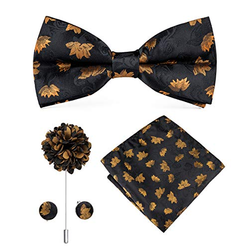 Dubulle Black and Gold Bow Tie Lapel Pin with Hanky Cufflinks Woven Silk