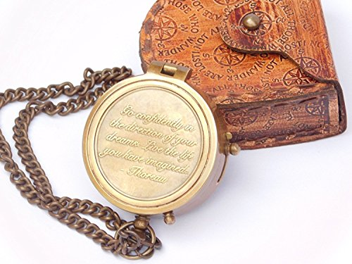 AnNafi Thoreau Compass Go Confidently Quote Engraved Brass Nautical Compass with Stamped Leather case | Great for Decore Anniversary Graduation Gifts for Men & Women Hiking Camping Motoring Boating by AnNafi