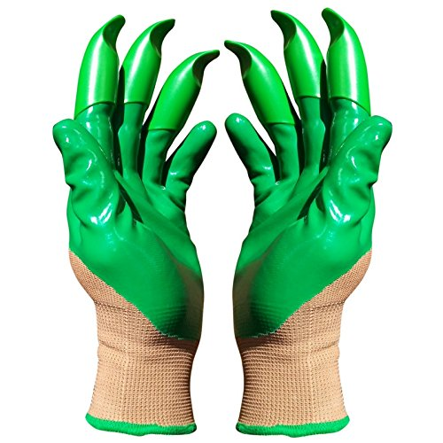 No Digging (Honey Badger Garden Gloves for Digging and Planting No More Worn Out Fingertips Unisex Claws on Both Hands, 10