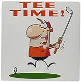 3dRose LLC 8 x 8 x 0.25 Inches Mouse Pad, Tee Time Funny Golfer Soprts Golf Cartoon Design (mp_118840_1)
