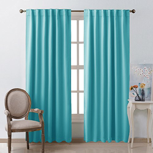 Window Treatment Solid Blackout Curtains - (Turquoise Blue Color) 52x84 Inch, 2 (Color Blackout Curtain)