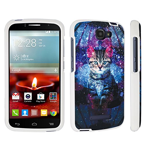 DuroCase Alcatel OneTouch Fierce 2 7040T / POP Icon A564C (2014 Released) Hard Case White - (Space - Cat Icon