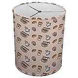 Hardback Linen Drum Cylinder Lamp Shade 8'' x 8'' x 8'' Spider Construction [ Coffee Retro Love Diner ]