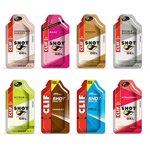 Clif Shot Energy Gels Variety Sampler Pack - 8 Gels (1 of Each Flavor)