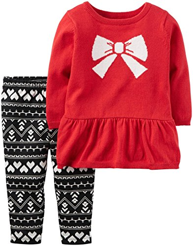 Carter's Baby Girls 2 Pc Sets, Red, 12M