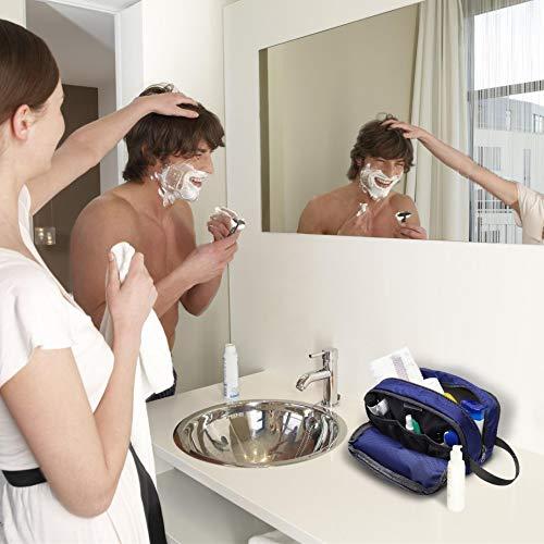Toiletry Bag for Men, Packism Large Lightweight Dopp Kit for Men Shaving Bag, Nylon Women Travel Toiletry Makeup Organizer Bathroom Bag, Blue