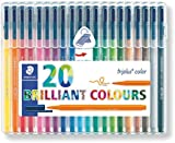Staedtler 323 Triplus Colour Fibre-Tip Pens, 1.0 mm, Assorted Colours, Pack of 20