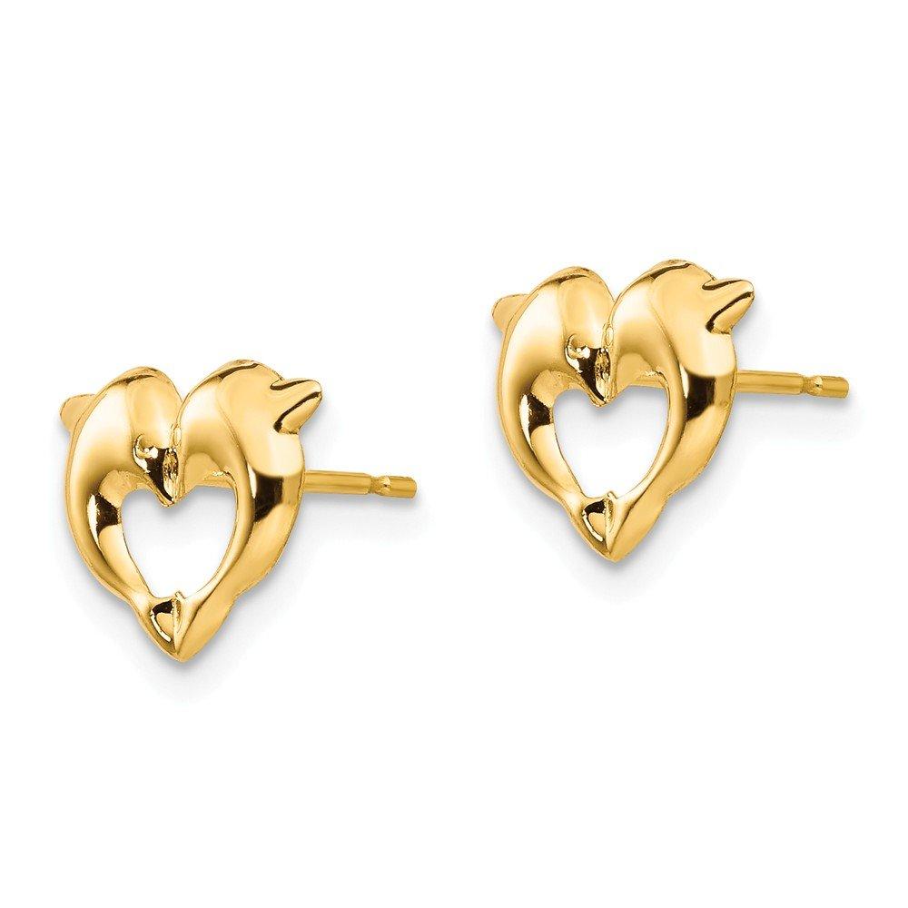 14K Yellow Gold Madi K Dolphin Heart Post Earrings