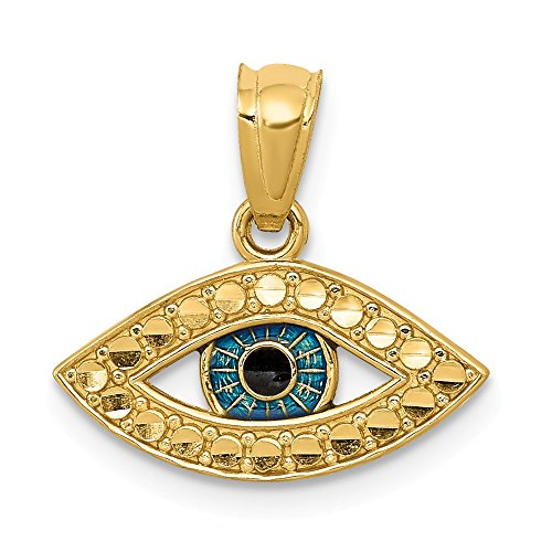 (14k Yellow Gold and Enameled SMALL Evil Eye Pendant, 14mm (3/5 Inch) )