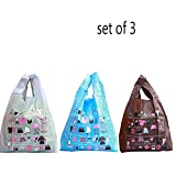 Ahyuan 3 Pack Fashional Foldable Reusable Shopping Bag Go-out Bags 100% Ripstop Thick Nylon ECO Friendly, 24.4