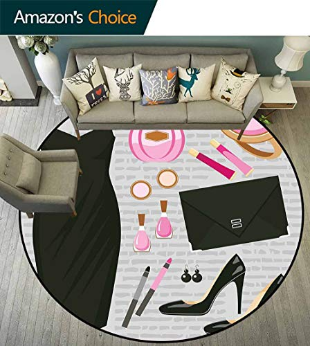 Heels and Dresses Round Carpets and Rugs,Black Smart Cocktail Dress Perfume Make Up Clutch Bag for Living Room,Black Light Pink Light Brown,D-75