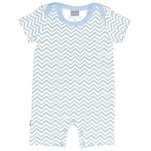 Kushies Boys' Baby Striped One-Piece Short Sleeve Romper, Blue 12m