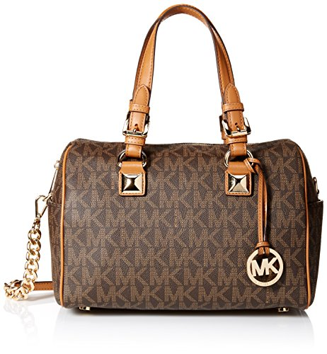 Michael Kors Grayson Medium Chain Signature Satchel (Brown / Acorn)