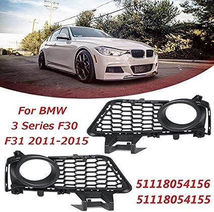 Paar Frontsto/ßstange Nebel-Lampen-Lichtgitter Racing Grill Autofrontsto/ßstange Nebelscheinwerfer Roste Fit for BMW 3er F30 F31 2011 2012 2013 2014 2015 Color : Black