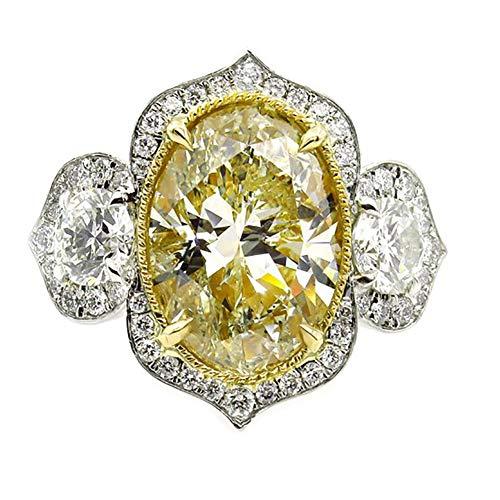 bromrefulgenc Elegant Pretty Ring,Shiny Rhinestones Women Oval Finger Ring Wedding Engagement Promise Jewelry Gift - Yellow US 6 ()