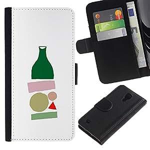 A-type (Bottle Minimalist Modern Art White) Colorida Impresión Funda Cuero Monedero Caja Bolsa Cubierta Caja Piel Card Slots Para Samsung Galaxy S4 IV I9500