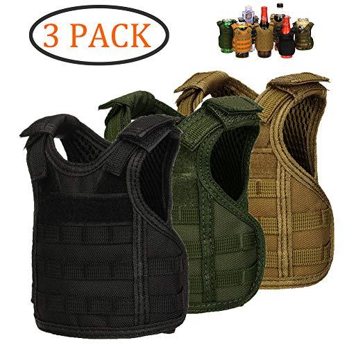 (DSMY Bottle Vest Tactical Beverage Cooler Military Beer Mini Molle Vest Hunting Bottle Drink Adjustable Shoulder Straps (3 Multi))