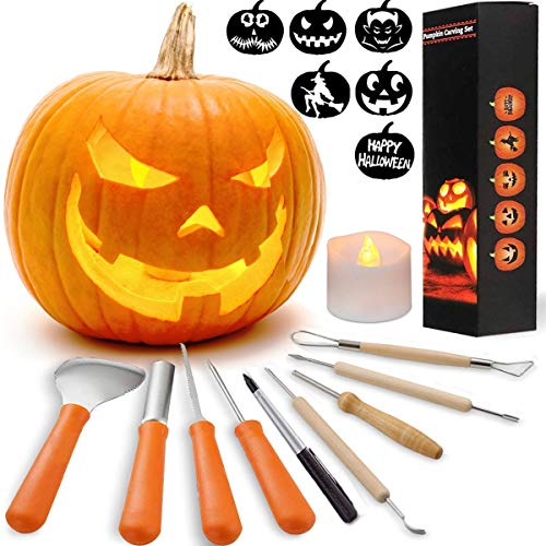 HOT SELL! 8 Packs Halloween Pumpkin Carving Kits Premium Heavy Duty Stainless Steel Pumpkin Carving Tools with Candle Easily Carve Sculpt Halloween Jack-O-Lanterns