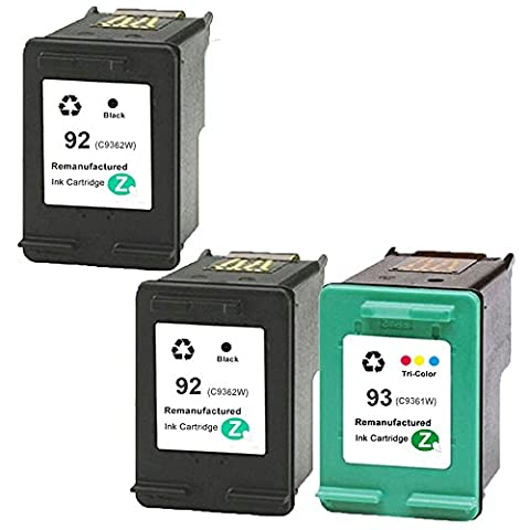 QUIMOOZ Remanufactured Ink Cartridge Replacement for HP 92 HP 93 C9513FN C9362WN C9361WN 3-PACK (2 Black, 1 (Ink Cartridge Hp 92 93)