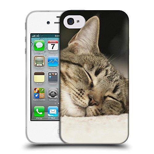 Just Phone Cases Coque de Protection TPU Silicone Case pour // V00004299 Chat domestique bénéficie sommeil // Apple iPhone 4 4S 4G
