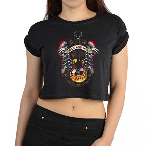 Crop Top für Frauen - Rock und Roll - Motivshirt für Damen mit Amerika Rocker Flair als coole Geschenk-Idee - Schwarz