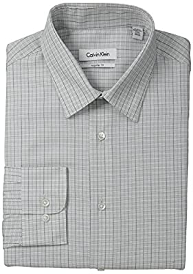 Calvin Klein Men's Regular Fit Graphic Check Dress Shirt Dress Shirt