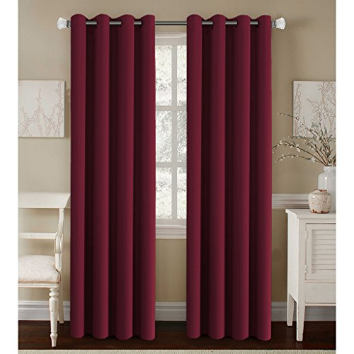H.Versailtex Untra Sleep Well Microfiber Blackout Thermal Insulated Grommet 2 Panels,Energy Efficient Window Curtains / Drapes (Set of 2, Burgundy, 52 x 96 Inch) (Burgundy Panel)