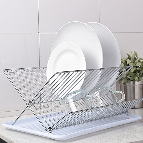Best Commercial Rust Proof Kitchen In Sink Two Tier Dish Drying Rack, Chrome Dish Rack with White - Dish White Wire Drainer
