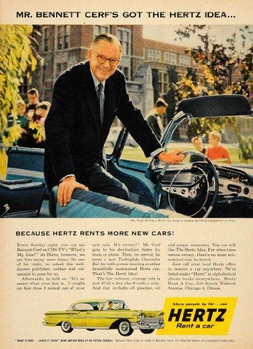 1958 Ad Hertz Rent A Car Bennett Cerf Car Rental Cbs   Original Print Ad