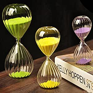 Romantic Colorful Creative Stripe Twisted Glass Hourglass Sand Timer Hourglass Sandglass Birthday Gift (5 Minutes, Stipe)