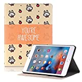 Hulorry iPad Mini 4 Case for Girls, Slim Case with Card Slots Heavy Duty Cover Cute Cartoon Folio Case Screen Protective Case for iPad Mini 4 7.9 inch