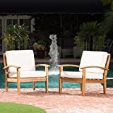 Wooden Outdoor Chairs Preston Outdoor Wooden Club Chairs w/Beige Cushions (Set of 2)