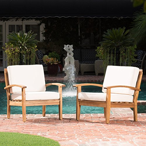 Cheap Preston Outdoor Wooden Club Chairs w/Beige Cushions (Set of 2)