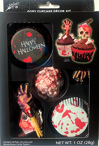 Halloween Gory Cupcake Decorating Set with 24 Picks, 24 Liners and Bloody Bones Candy Toppers -