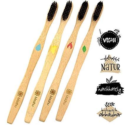 Madhu - Set de 4 cepillos de dientes de bambú ♻ Inconfundibles gracias a esta edición