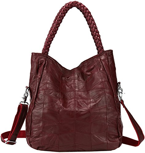 "HESHE Fashion Vintage Sheepskin Leather Shoulder Bags Handbags Tote Messenger Bag for Women (Small size- (L)12.48(H)14.82(W)3.9"" in, Wine)"