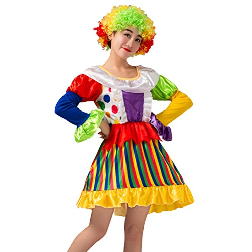 LUOEM Carnival Clown Costume Halloween Masquerade Adult Clown Outfit Suit For Women Party - Size 5XL