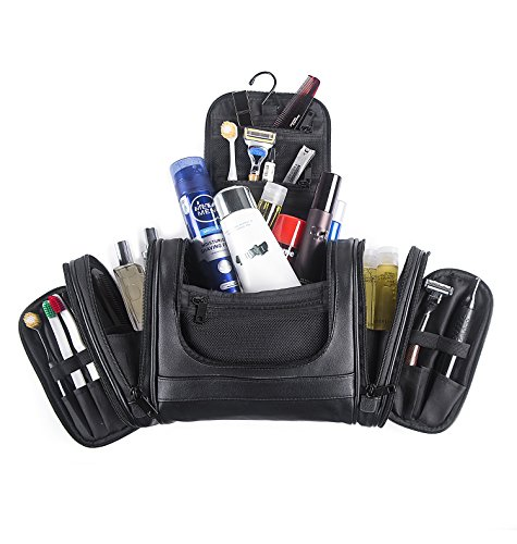 Beschan Extra Large PU Leather Hanging Travel Toiletry Bag Transparent Organizer Dopp Kit for Men for Woman (Black)