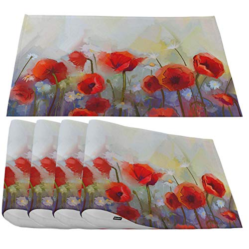 Moslion Red Poppy Flowers Placemats,Oil Painting Spring Floral Nature Background Place Mats for Dining Table/Kitchen Table,Waterproof Heat-Resistant Washable Outdoor Dinner Table Mats,Set of 4 (Table Spring Nature)