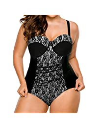 Eiffel Women's Plus Size Color Block Ruched One Piece Swimsuit Bathing Suits Bikini