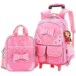 COOFIT 2Pcs School Backpack School Bag Bookbag Cute Knapsack Waterproof Dustproof Bag Rolling Backpack with Lunch Bag
