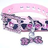 Small: Pink Leather, Animal Print, Rhinestone Dog Collar w/ Bling Dog Bone Pendant & Faux Fur