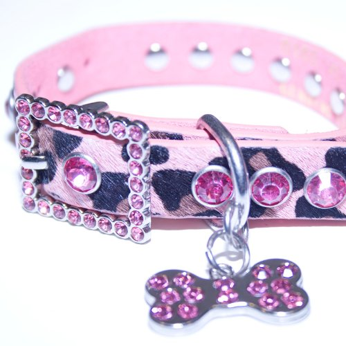 Medium: Pink Leather, Animal Print, Rhinestone Dog Collar w/ Bling Dog Bone Pendant & Faux Fur