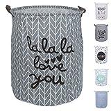 DOKEHOM DKA0818DGL2 19.7'' Large Laundry Basket (5 Colors), Waterproof Round Cotton Linen Collapsible Storage Basket (Dark Grey, L)