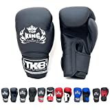 Top King Gloves Color Black White Red Blue Gold Size 8, 10, 12, 14, 16 oz Design Air, Empower, Superstar, and more for Training and Sparring Muay Thai, Boxing, Kickboxing, MMA (Air - Black/Black/Black 14 oz)